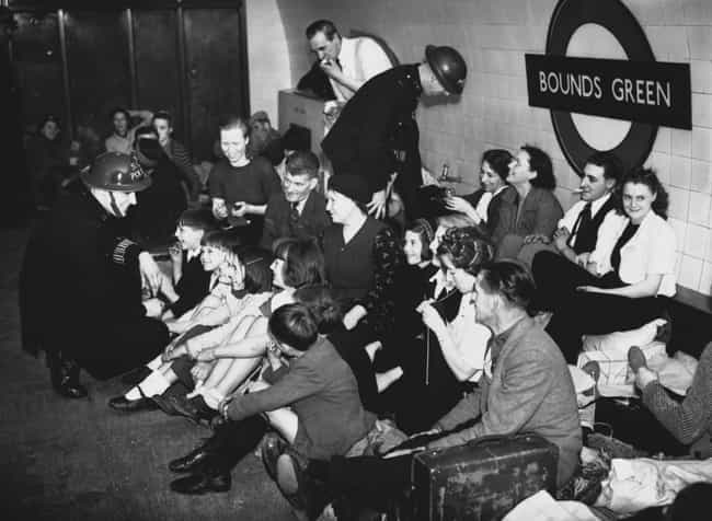 Hiding From Air Raids In... is listed (or ranked) 4 on the list 22 Vintage Photos Of People Riding The Tube
