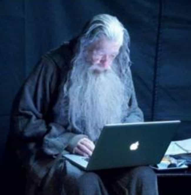 Gandalf Checks His Email, '... is listed (or ranked) 4 on the list 30 Behind-The-Scenes Pictures That Totally Ruin The Movie Magic