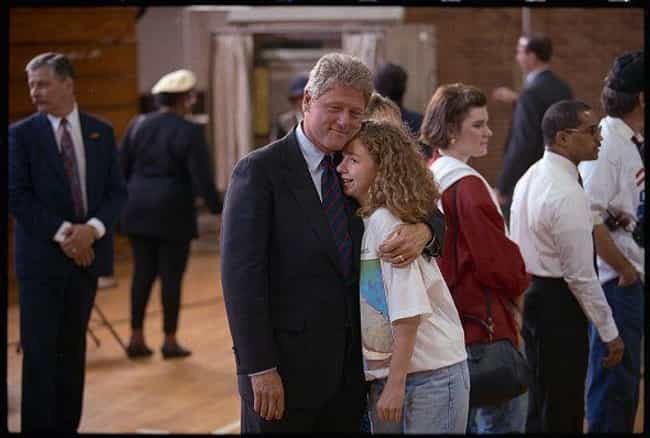 Hugging His Daughter Che... is listed (or ranked) 3 on the list Rare Photos Of The '92 Clinton Campaign