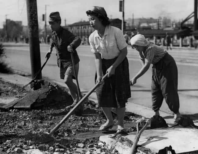 Clearing Rubble From The... is listed (or ranked) 1 on the list 33 Eye-Opening Historical Photos Of Japan After World War II