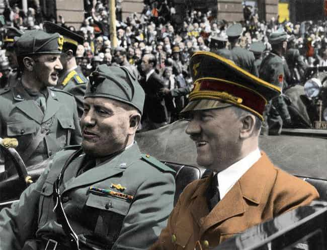 Hitler And Mussolini Dur... is listed (or ranked) 1 on the list Oddly Off-Putting Photos Of Axis Powers Broing Out Together