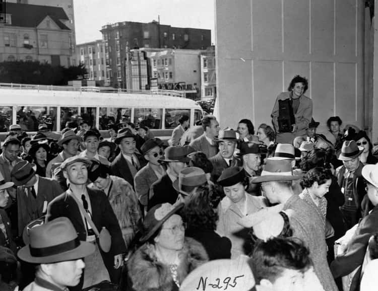 Japanese Americans In San Francisco, Waiting To Be Transported To The Santa Anita Internment Camp