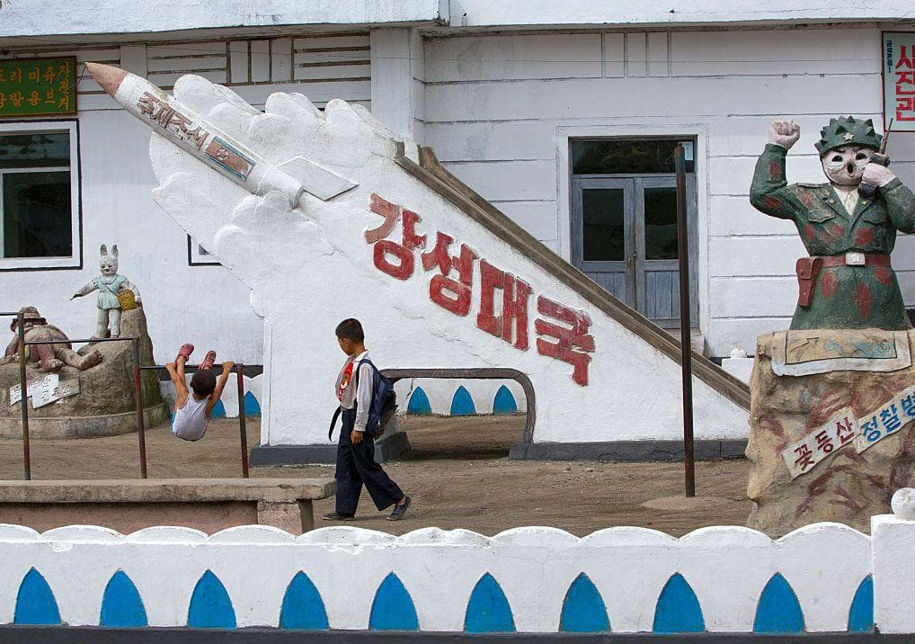Missile Monument Inside A School In Hamhung on Random Pictures Of Rural Life In North Korea