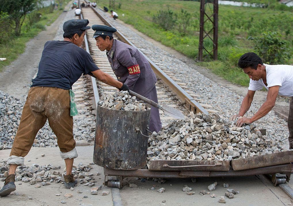 Building A Railway on Random Pictures Of Rural Life In North Korea