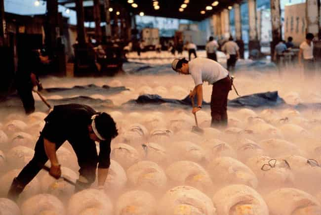 Workers Lay Out Frozen T... is listed (or ranked) 1 on the list Super Nifty Pictures From The Tsukiji Fish Market