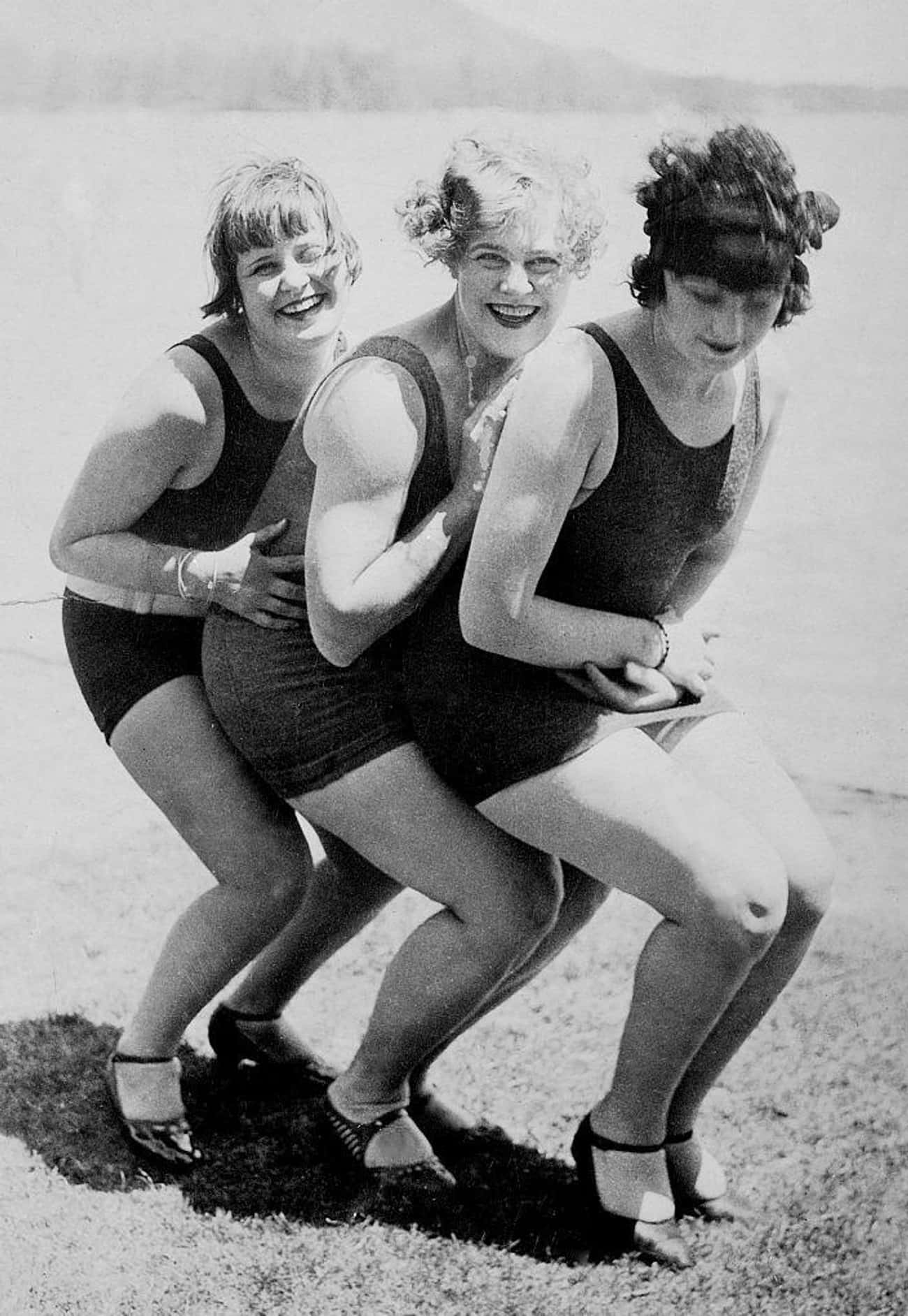 Young Flappers In Heels At The is listed (or ranked) 1 on the list 33 Pics of Old-Timey Swimsuits That Will Have You Dreaming of the Beach