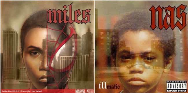 Miles Morales Pays Homag... is listed (or ranked) 1 on the list 32 Marvel Hip-Hop Variant Covers And The Album Covers They're Inspired By