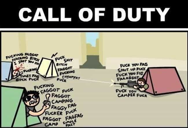 Literally Every COD Game is listed (or ranked) 2 on the list 25 Hilariously Devastating Insults Only Gamers Understand