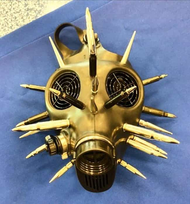 A Bullet-Adorned Gas Mask is listed (or ranked) 3 on the list The Most Insane Things Ever Confiscated By The TSA