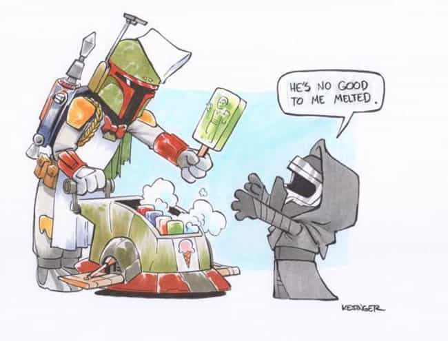 Boba Fett Ice Cream Man ... is listed (or ranked) 4 on the list This Guy Draws Star Wars Characters In Calvin And Hobbes Style, And It's Genuinely Heart-Warming