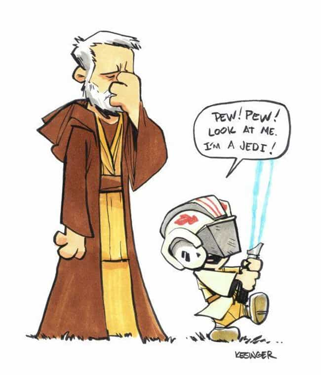 Pew! Pew! is listed (or ranked) 3 on the list This Guy Draws Star Wars Characters In Calvin And Hobbes Style, And It's Genuinely Heart-Warming