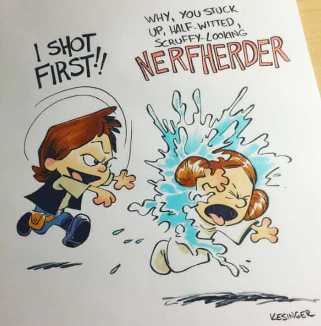 NERFHERDER! is listed (or ranked) 4 on the list This Guy Draws Star Wars Characters In Calvin And Hobbes Style, And It's Genuinely Heart-Warming