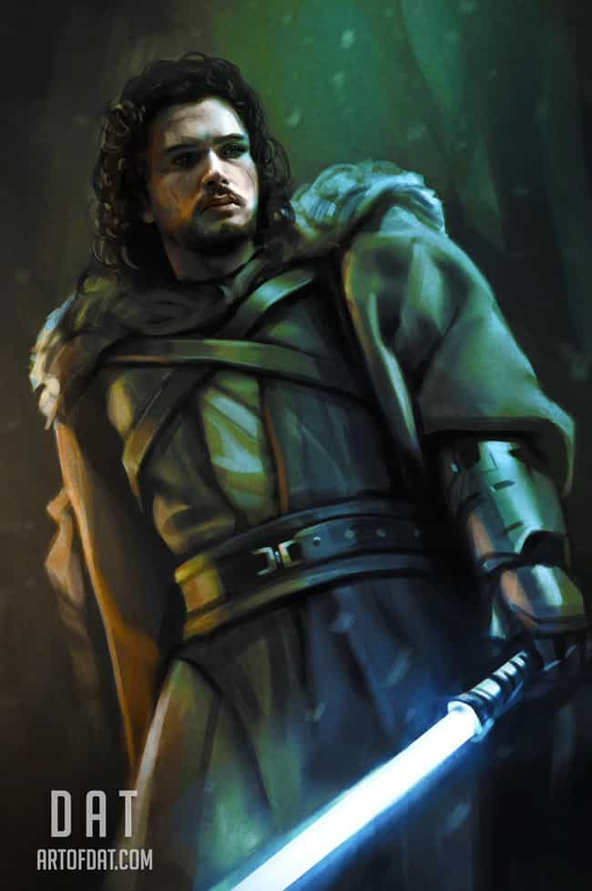 Jedi Jon Snow is listed (or ranked) 1 on the list An Incredible Artist Created Throne Wars: Game Of Thrones Meets Star Wars
