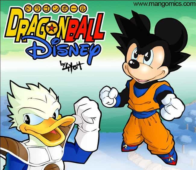 Goku Mickey And Vegeta Donald is listed (or ranked) 2 on the list Dragon Ball Z And Disney Is The Latest Mashup Fan Art Craze