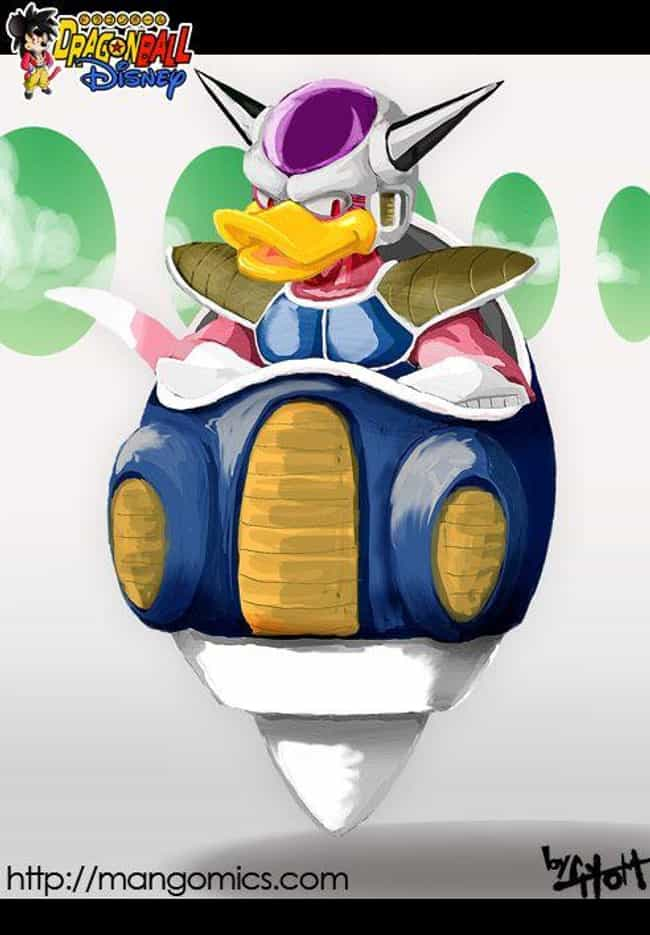 Freeza The Duck is listed (or ranked) 2 on the list Dragon Ball Z And Disney Is The Latest Mashup Fan Art Craze