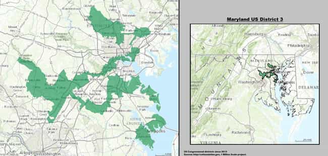 Maryland's 3rd is listed (or ranked) 1 on the list The Most Gerrymandered Districts In America