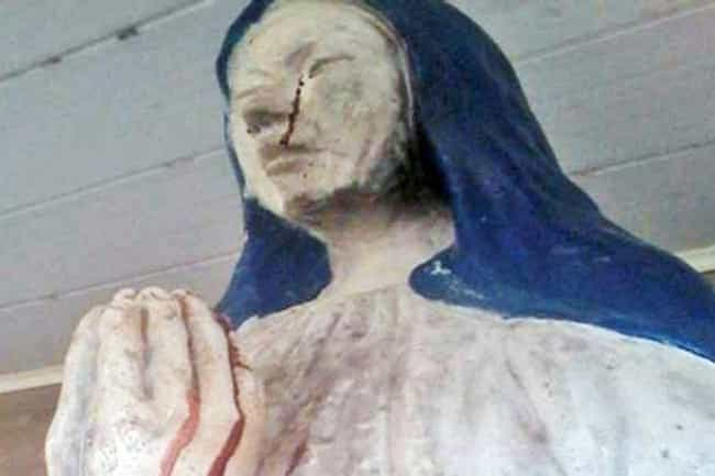 The Bolivian Virgin Mary With ... is listed (or ranked) 3 on the list Real Instances Of Religious Statues Gushing Blood