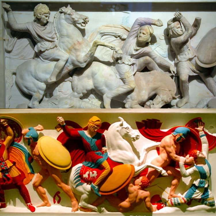 """The Reproduction Of The """"Alexander Sarcophagus,"""" From Around 320 BCE, Greece"""
