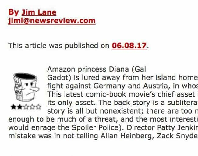 Jim Lane is listed (or ranked) 4 on the list 11 Movie Bros Who Just CANNOT Deal With Wonder Woman's Success
