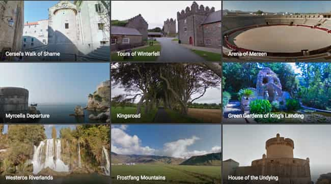 There Are A TON Of Locat... is listed (or ranked) 1 on the list Hey, Nerds, Now You Can Walk Through Game Of Thrones With Google Street View