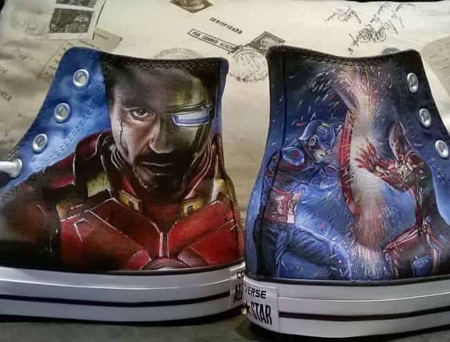 Iron Man And Captain Ame... is listed (or ranked) 3 on the list This Artist Turns Basic AF Sneakers Into Nerdy Masterpieces