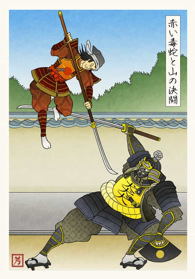 The Red Viper Dueling The Moun... is listed (or ranked) 1 on the list This Artist Reenvisioned Game Of Thrones In Feudal Japan