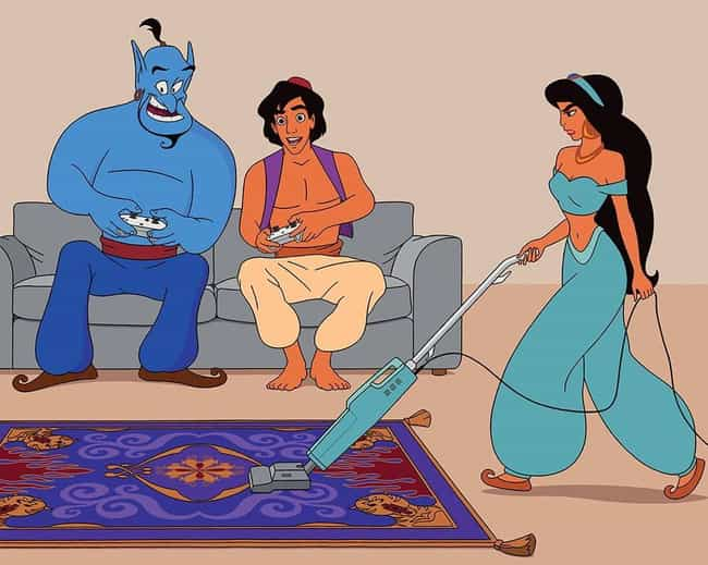 A Whole New World, Huh? is listed (or ranked) 4 on the list This Artist Reimagines Disney Characters Into Hilariously 21st Century Scenes