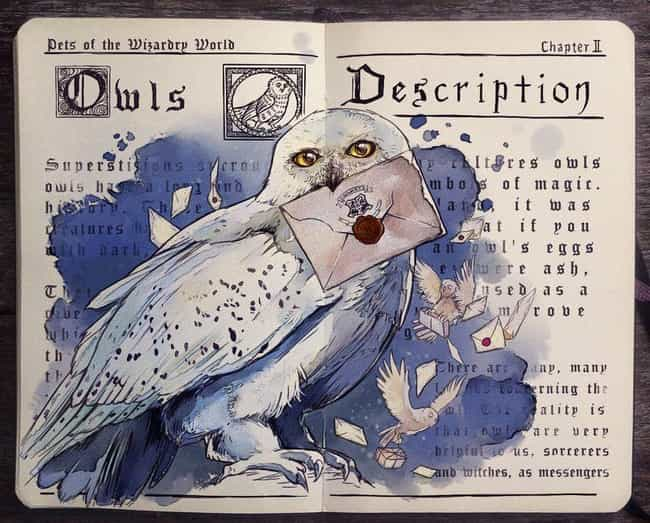 Owls is listed (or ranked) 4 on the list This Artist Creates Awesome Harry Potter Watercolor Fan Art