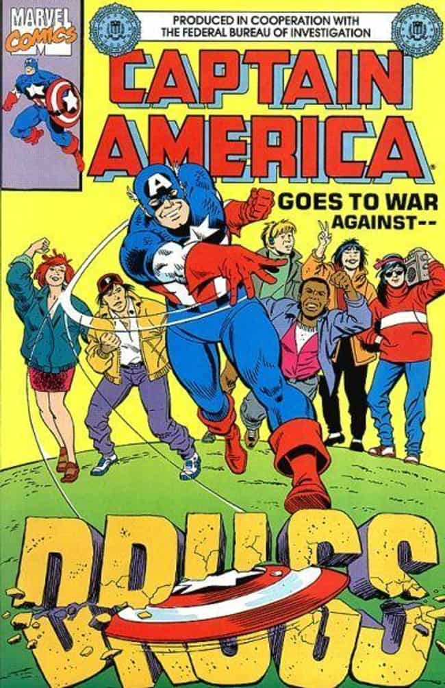 Captain America Loves Fi... is listed (or ranked) 4 on the list 22 Bizarre Photos Of Superhero PSAs From Old Comic Books
