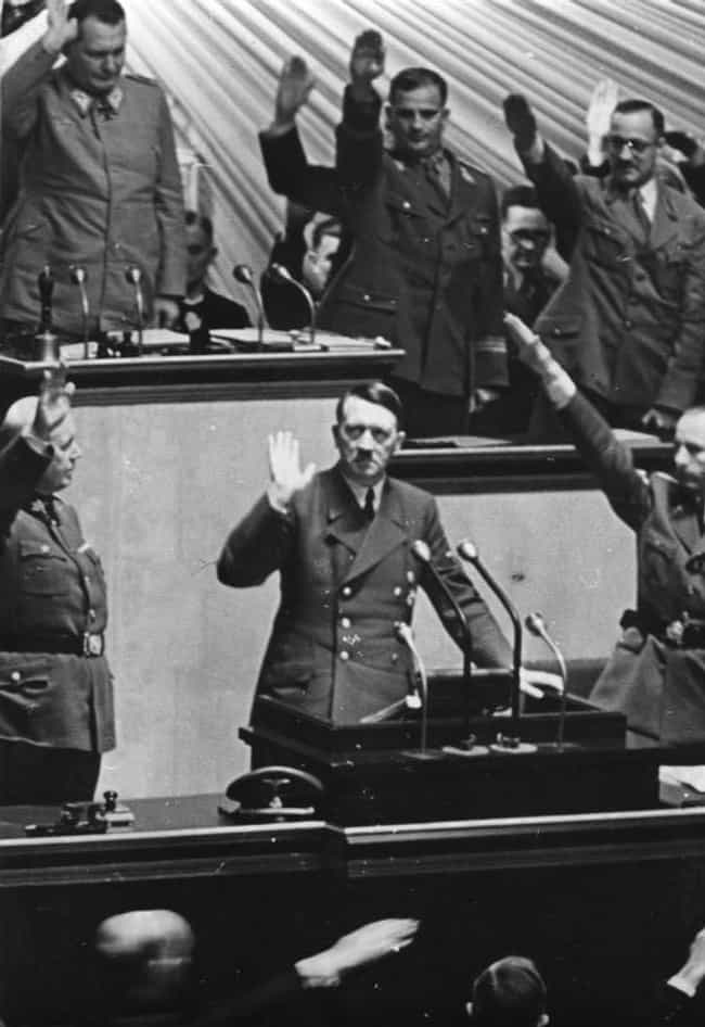 His Declaration To The U... is listed (or ranked) 3 on the list The Rare Color Photo That Captured The Moment Hitler Declared War On The U.S.