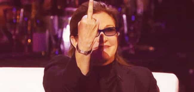 After Disney Told Her Sh... is listed (or ranked) 1 on the list Here's A Bunch Of Pictures Of Carrie Fisher Flipping People Off