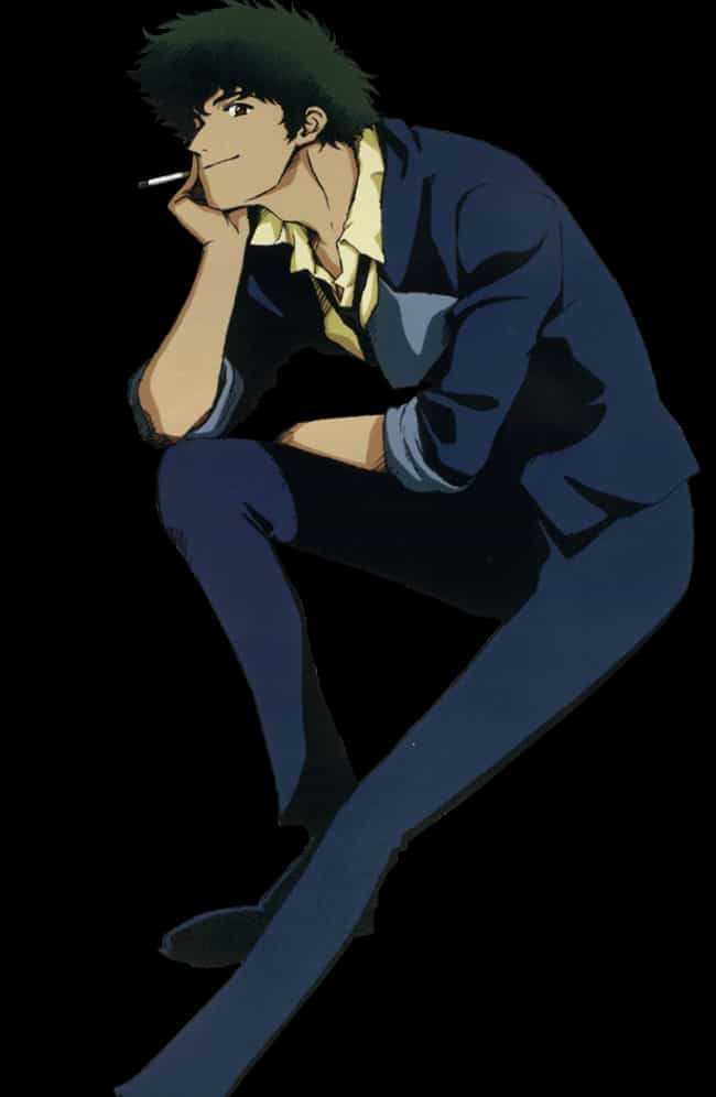 Answer: Spike Spiegel is listed (or ranked) 4 on the list Can You Guess Who These Distorted Anime Characters Are?