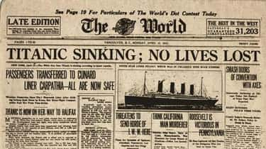 No Lives Lost On The Titanic is listed (or ranked) 1 on the list 12 Historical Headlines That Could Not Have Been More Wrong