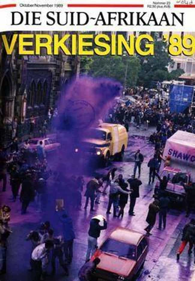 The National Party's Hea... is listed (or ranked) 3 on the list South African Cops Blasted Anti-Apartheid Protesters With A Purple Water Cannon To 'Mark Them'