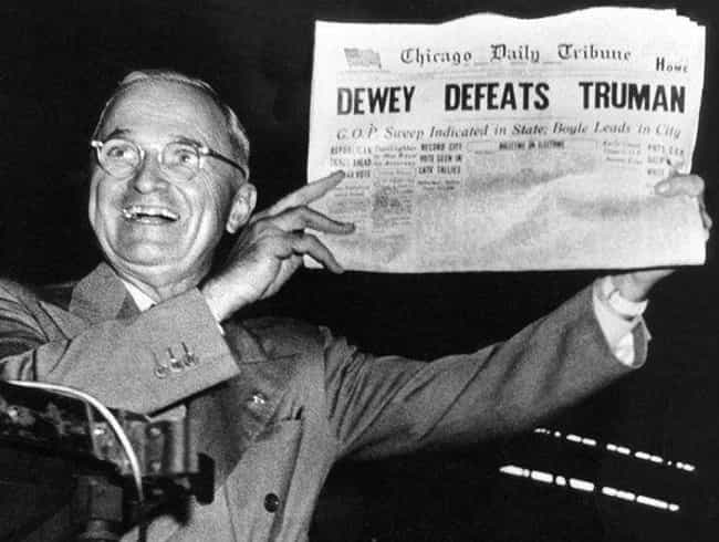 Dewey Defeats Truman is listed (or ranked) 4 on the list 12 Historical Headlines That Could Not Have Been More Wrong