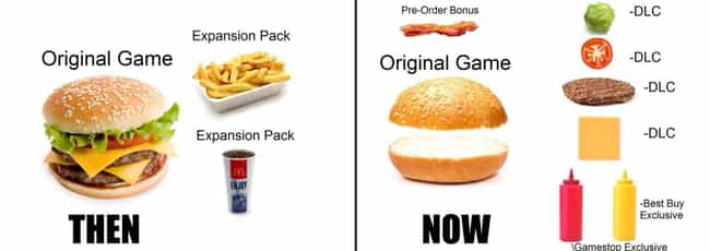 Then Vs Now is listed (or ranked) 2 on the list The 23+ Most Hilarious Memes About DLC On The Internet