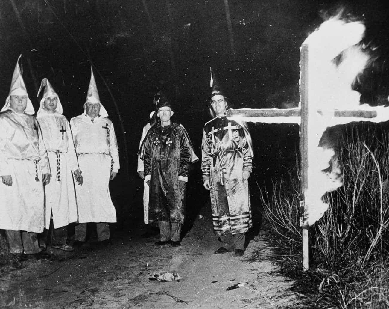 Seven Men Wearing Klan Robes W is listed (or ranked) 2 on the list Newspapers Report Donald Trump's Dad Was Arrested At A KKK Rally 90 Years Ago