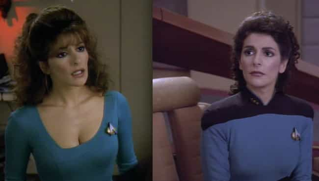 Marina Sirtis Thinks Her Cleav... is listed (or ranked) 7 on the list Wardrobe Secrets From Behind The Scenes Of Star Trek