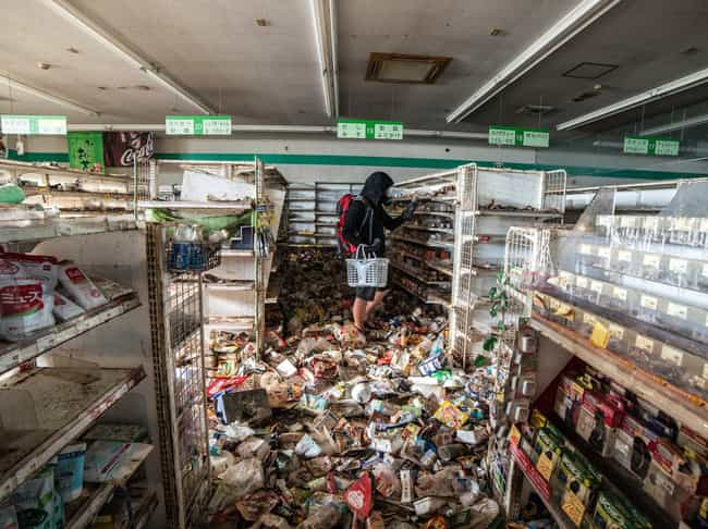 Goods Spill Out Of Shelves In ... is listed (or ranked) 1 on the list Haunting Images of Fukushima, The Abandoned Nuclear Radiation Ghost Town