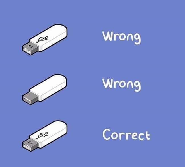 Never Getting The USB Right On... is listed (or ranked) 2 on the list 29 Things Almost Everyone Is Guilty Of Having Done Before