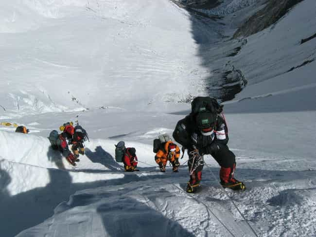 """Climbers Have To Step Ov... is listed (or ranked) 8 on the list The Tragic Story of """"Green Boots,"""" The Frozen Body On Mt. Everest That Hikers Use As A Checkpoint"""