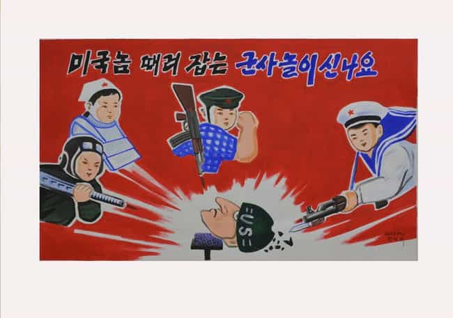 The Game Of Beating To Death A... is listed (or ranked) 2 on the list 18 Utterly Ridiculous North Korean Propaganda Posters (And What They Say)