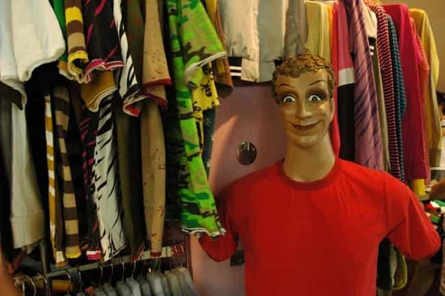 Beware The T-Shirt Rack is listed (or ranked) 2 on the list DON'T LOOK At These Photos If You Have A Mannequin Phobia