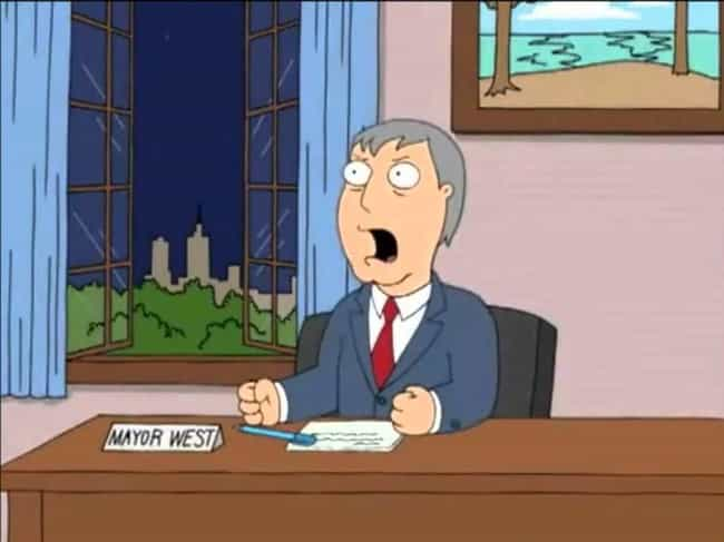 Mayor Wests Are Troublemakers is listed (or ranked) 2 on the list Family Guy Jokes That Are Way, Way More Intellectual Than You Realized