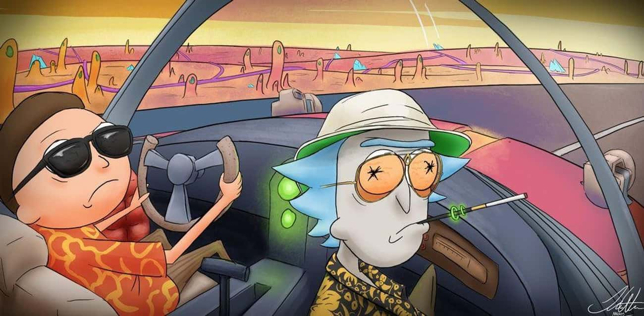 Fear And Loathing In Las Vegas is listed (or ranked) 4 on the list These Fans Made Spectacular Fan Art Of Rick And Morty Crossing Over Into Other Fictional Worlds