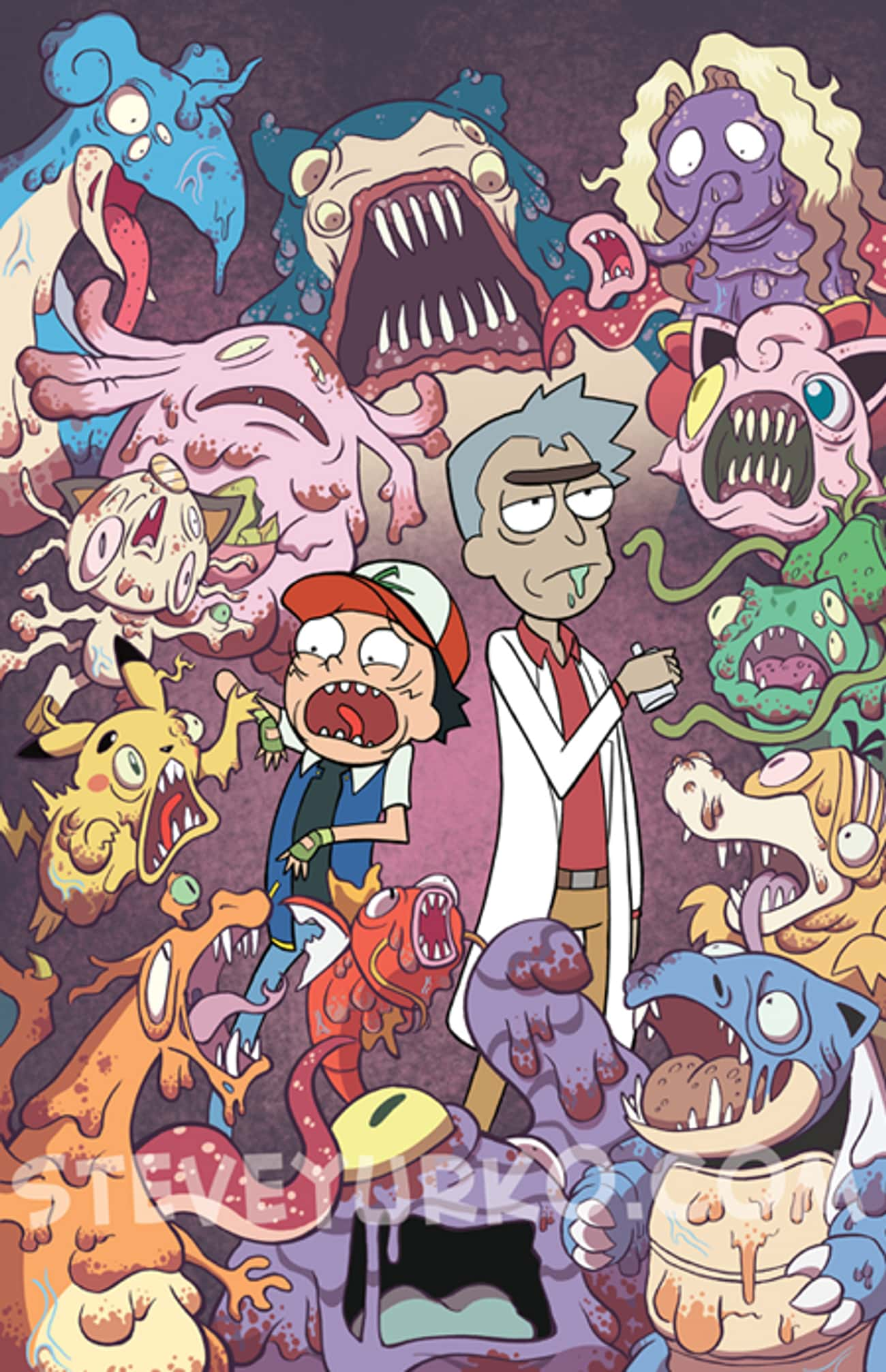 Pokémon is listed (or ranked) 1 on the list These Fans Made Spectacular Fan Art Of Rick And Morty Crossing Over Into Other Fictional Worlds