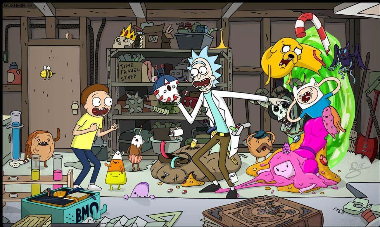 Adventure Time is listed (or ranked) 2 on the list These Fans Made Spectacular Fan Art Of Rick And Morty Crossing Over Into Other Fictional Worlds