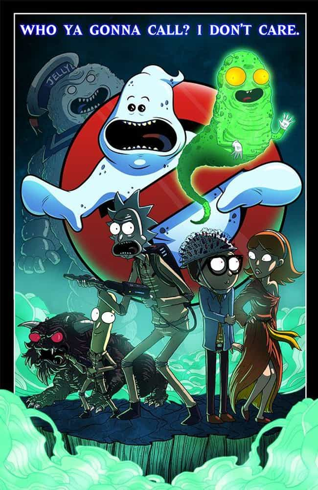 Ghostbusters is listed (or ranked) 2 on the list These Fans Made Spectacular Fan Art Of Rick And Morty Crossing Over Into Other Fictional Worlds