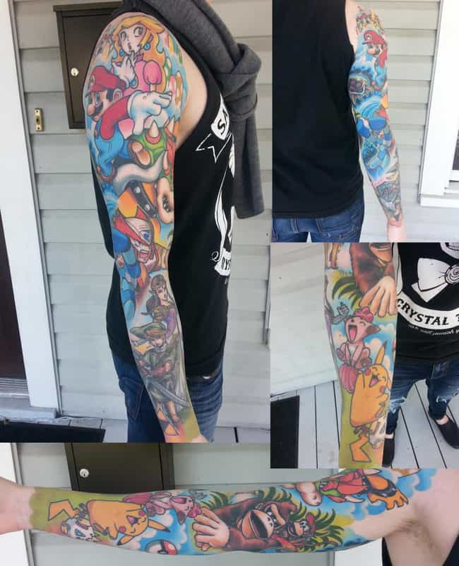 Nintendo Full Sleeve is listed (or ranked) 2 on the list 22 Supremely Cool Nintendo Tattoos Guaranteed To Inspire Your Inner Geek