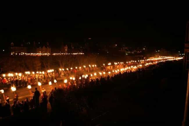 Torch-Lined Streets Light The ... is listed (or ranked) 4 on the list A Look Inside Scotland's Massive Viking Festival That Happens Every Year